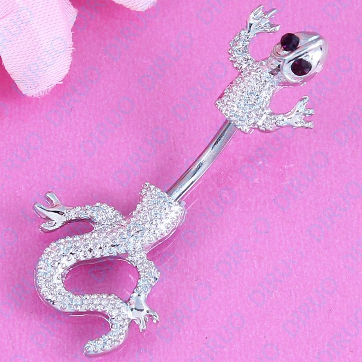 New Arrival Jeweled Lizard Style Belly Button Ring  Body Piercing Jewelry Navel Piercing 316L Stainless steel free shipping