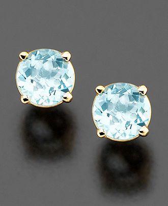 14k Gold Aquamarine Stud Earrings - Earrings - Jewelry & Watches - Macy's