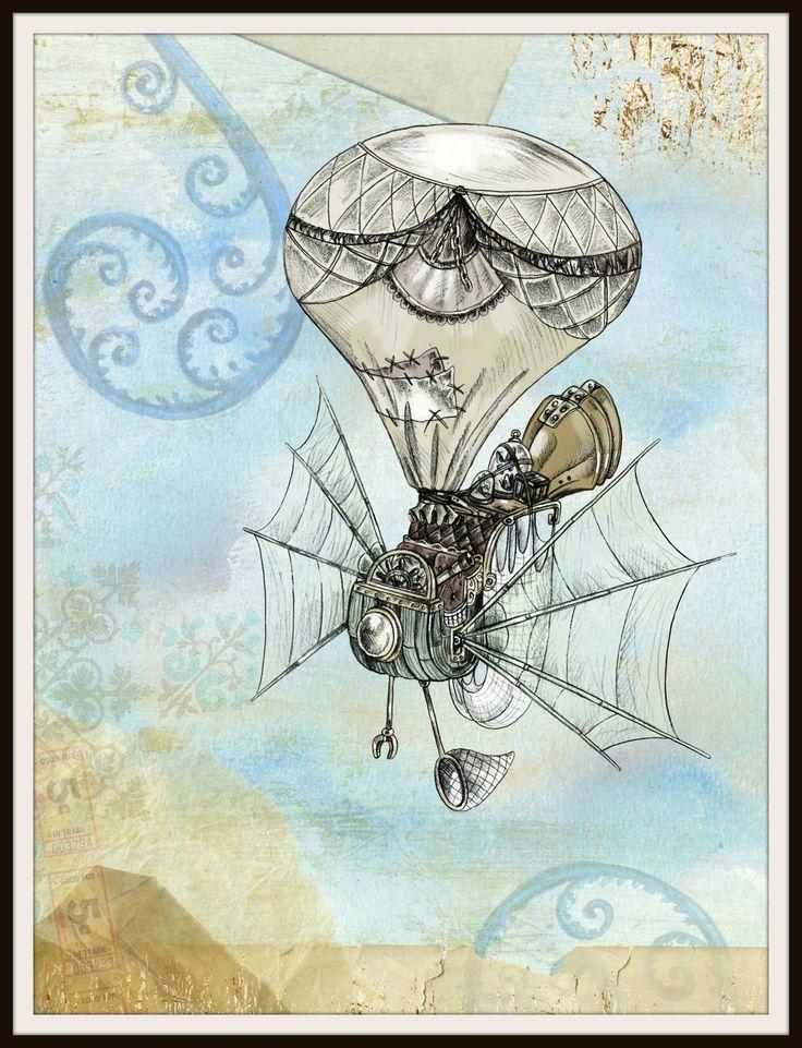"Vintage Poster Art Print Hot Air Balloon 8.5 x 11"""