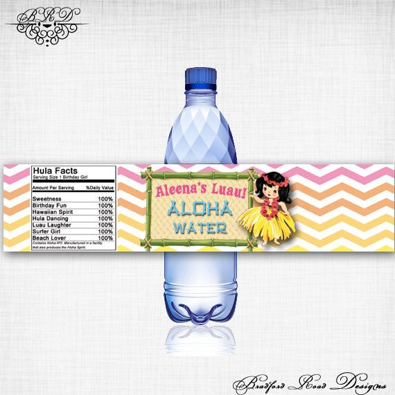 Vintage or Modern Hawaiian Luau Water by BradfordRoadDesigns, $8.00