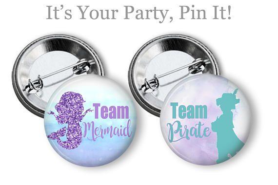 Mermaid & Pirate Gender Reveal Pins Mermaid Baby Shower