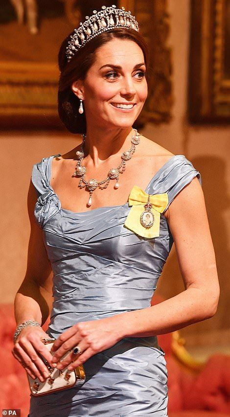 c9158cd1e8 Kate glitters in Diana s diamond tiara at banquet for Dutch royals ...