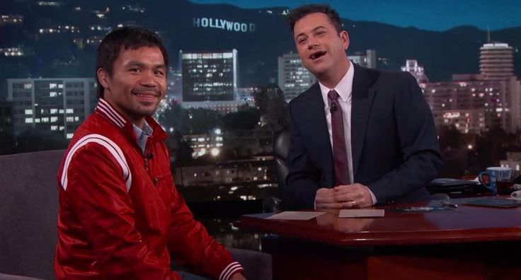 "Boxer Manny Pacquiao discusses his upcoming fight with Floyd Mayweather Jr. on ""Jimmy Kimmel Live!"""