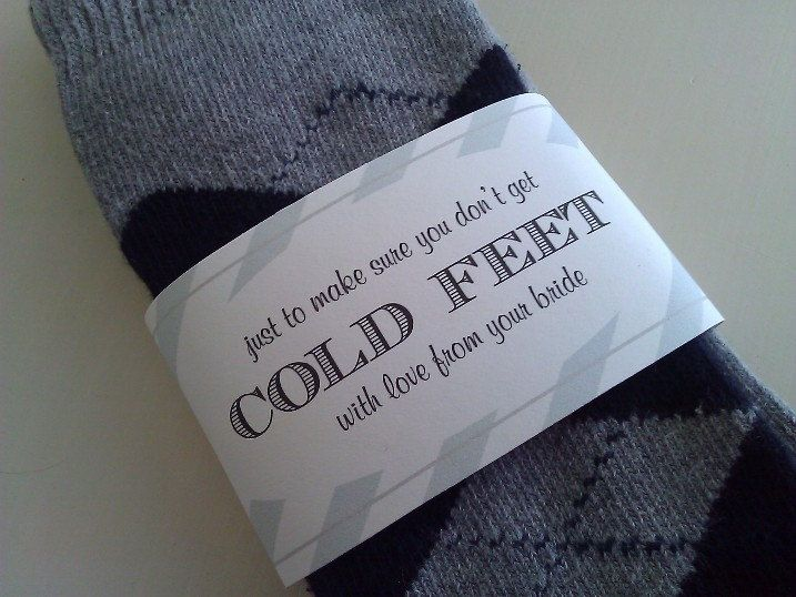 Don't get COLD FEET  Sock Wrapper for the groom by ThePinkLantern, $4.95
