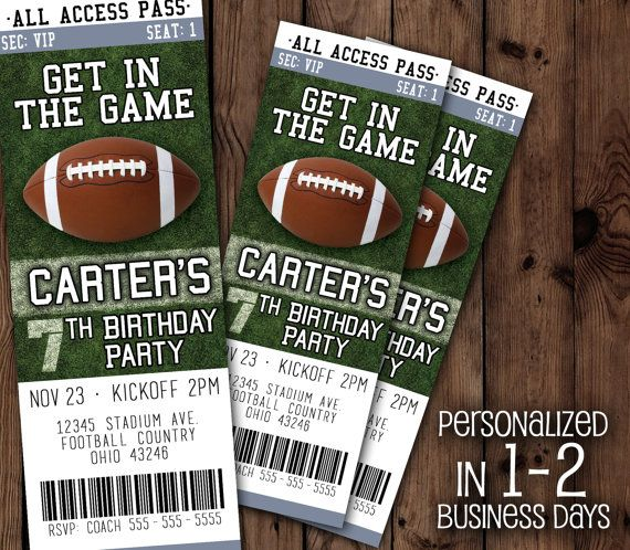 Football Ticket Football Ticket Invitation by DHDigitalDesign