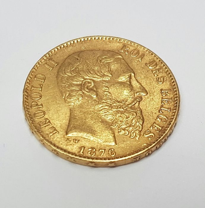 Gouden investeringsmunt: 20fr Leopold II  Gouden 20fr. Leopold II.Opgelet deze munt wordt verkocht als investeringsproduct het kan dus zijn dat de geleverde munt in jaartal afwijkt van die op de foto.Al de munten verkeren in goede staat. Wordt aangetekend en verzekerd verzonden met tracking codeOpgelet: u betaald per kavel verzendkosten Kan ook worden afgehaald  EUR 1.00  Meer informatie