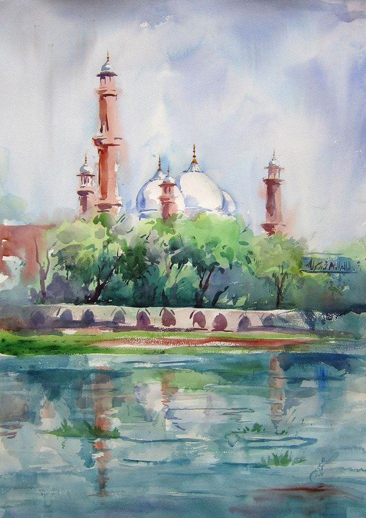 Badshahi Mosque Pakistan watercolor on paper 22x30in (i.redd.it) submitted  by