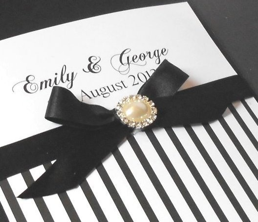 Wedding Invitation Black And White Stripes   Folksy