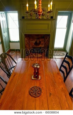Colonial Style Home Interior Dining Room With Fireplace Country