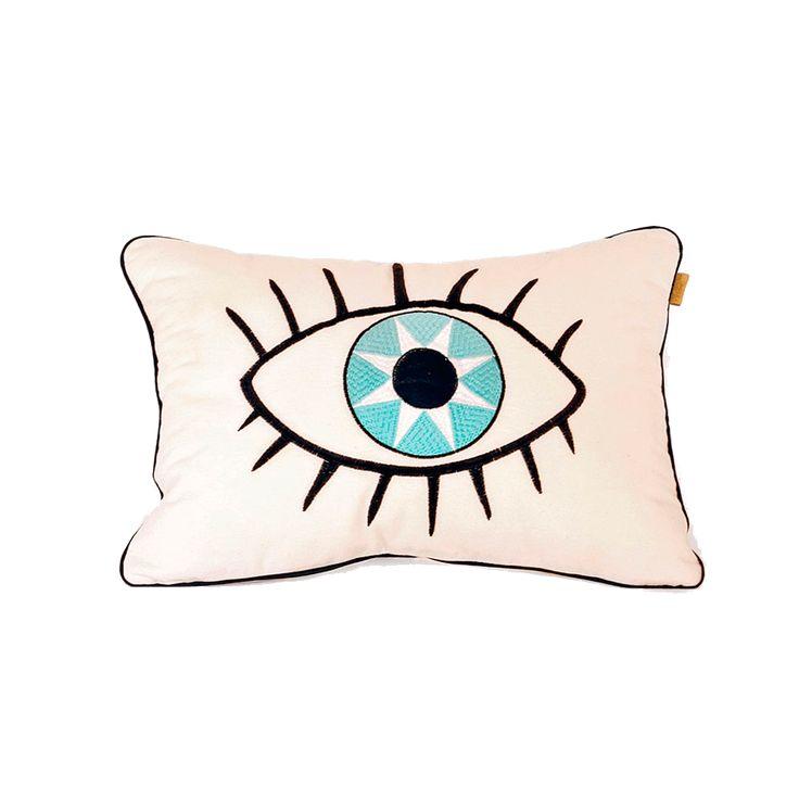Cojín ilustrado a mano y bordado en telacruda con bordados negro y azul.  Este producto es ideal como complemento de decoración en camas, sillas o sofas.