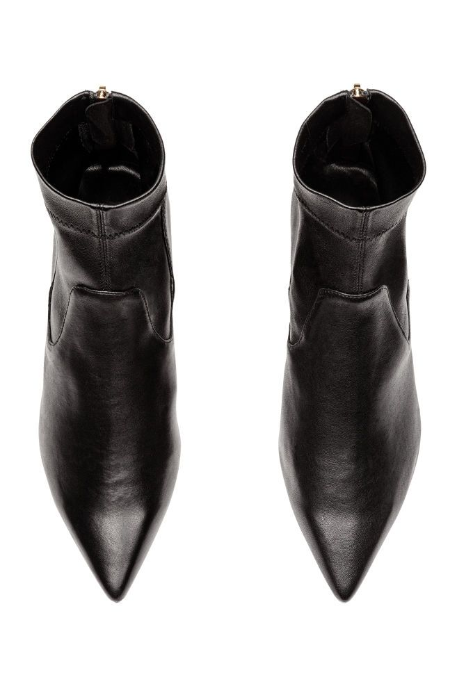 Leather Ankle Boots - Black - Ladies