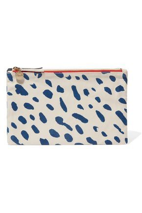 CLARE V WOMAN CONTRAST PRINTED COTTON AND DENIM DOUBLE CLUTCH WHITE. #clarev #bags #clutch #denim #cotton #hand bags #