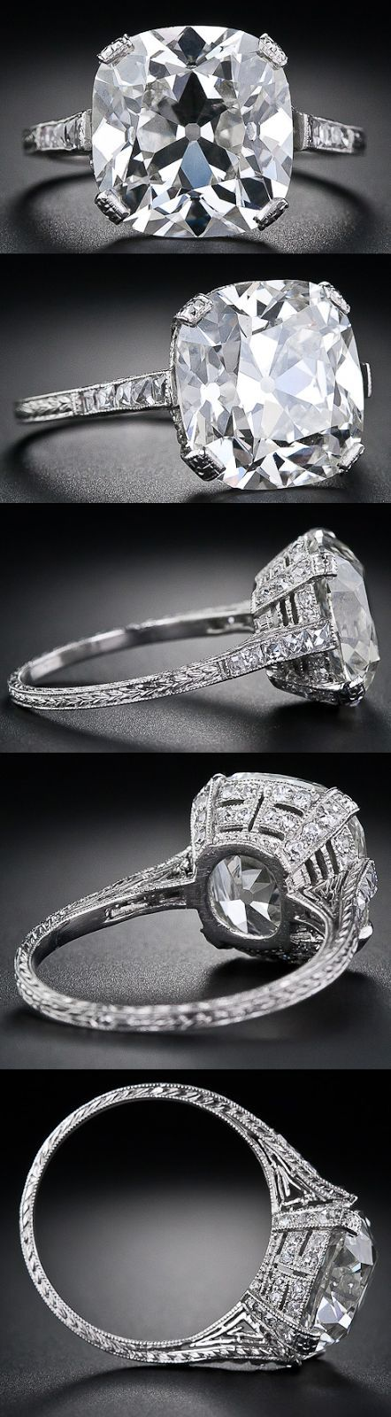 Multi-view: 6.48 carat antique cushion cut diamond ring. Via Diamonds in the Library.