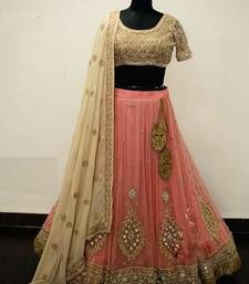 Buy Pink embroidered net unstitched lehenga ghagra-choli online