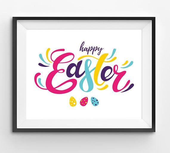 Happy Easter Colorful Typography Print with Colorful Easter