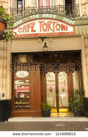 BUENOS AIRES - SEP 13: Exterior of Cafe Tortoni on September 13, 2012. Located on Avenue of May, the Cafe Tortoni, with over 150 years of history, is the most famous of Buenos Aires, Argentina. - stock photo
