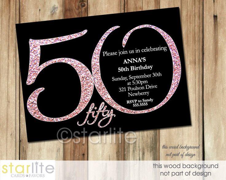 50th Birthday Invitation, Black + Pink Glitter Modern Number Milestone 50th Birthday Invitation, ANY AGE ending in ZERO, Printable, Printed by starwedd on Etsy https://www.etsy.com/listing/168750101/50th-birthday-invitation-black-pink