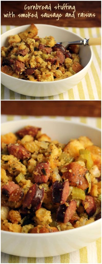 Cornbread stuffing with smoked sausage and raisins, my family's absolute favorite Thanksgiving side dish.