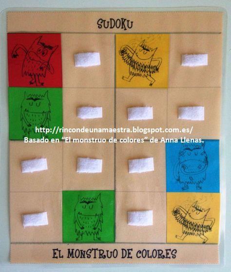 """Hoy os enseño el último juego del conjunto de juegos de mesa tradicionales basados en """"El monstruo de colores"""" que estrenaremos en la Semana..."""