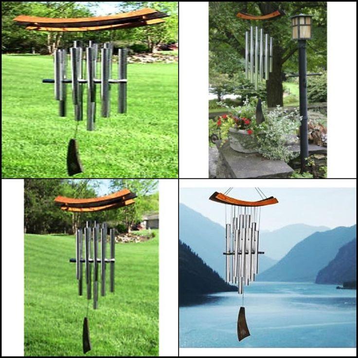 "Healing Woodstock Wind Chime  Eastern Energies  Garden Decor Cherry Finish  34"" #Woodstock"