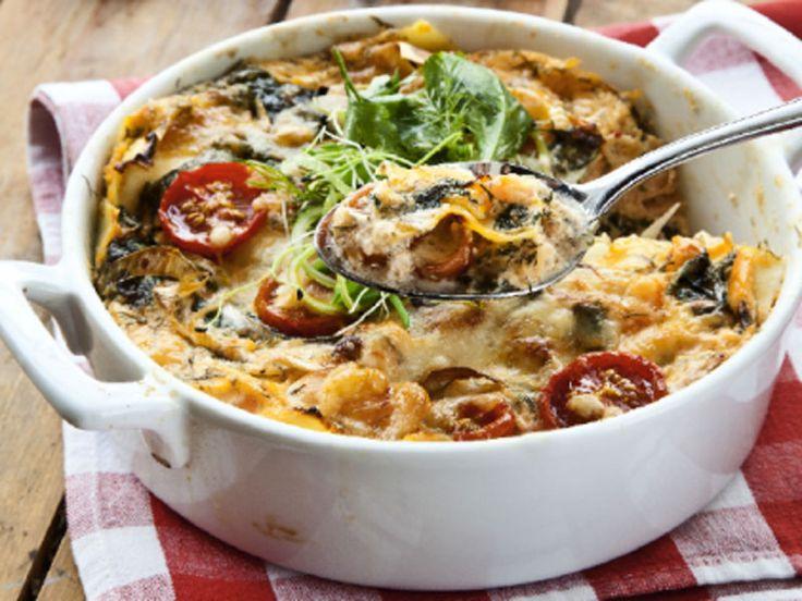 Få ett ljuvligt krämigt recept på en lasagne med fisk och skaldjur!