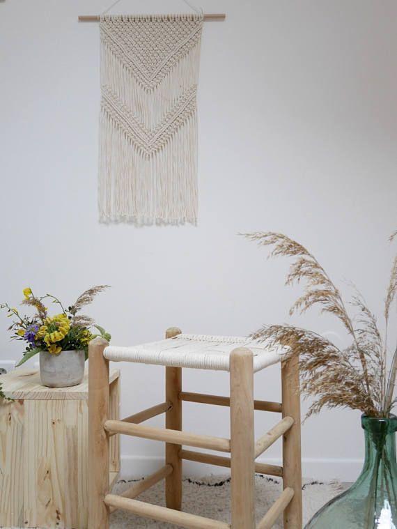 BOCA RATON Tenture Murale en Macramé, baguette en bois, noeud plat et noeud baguette  Macrame wall hanging  South Beach Collection