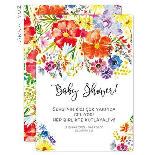 Flower Baby - Baby Shower Davetiyesi Tasarım: © Dört Köşe Davetiye
