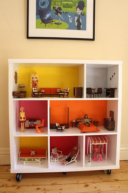 Background of shelving painted bright colors