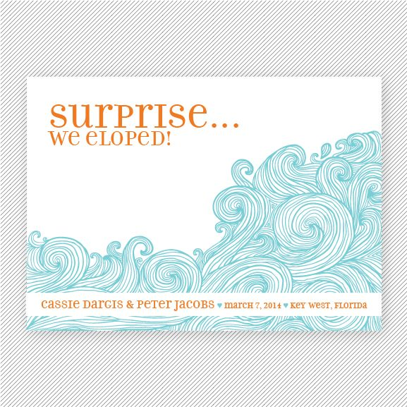 Ocean Waves Printable Elopement Announcement Suite