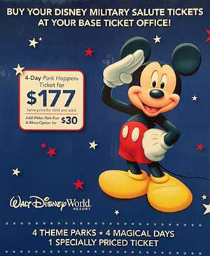 These tickets can be purchased at Shades of Green, your local Base Ticket Office, or Disney Theme Park ticket booths (Sales tax will be added at Disney