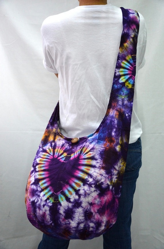 The Heart Tie Dye Large Hobo Boho Cross Body Bag by Dollypun, $9.99