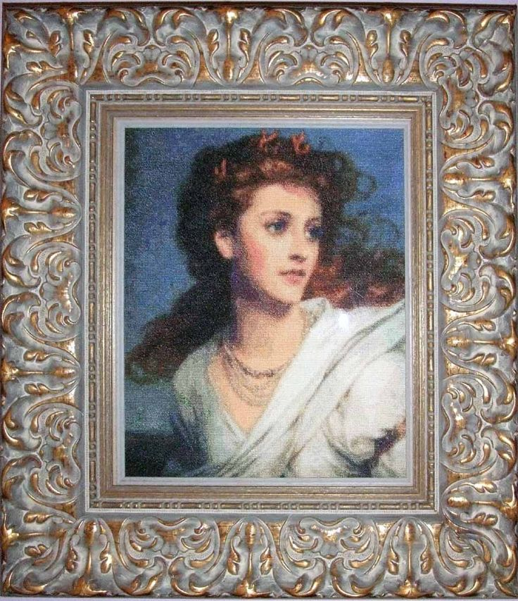 Miranda, cross stitch based on a painting by Sir Frank Dicksee. 1878  Stitched April-Des 2008.  Chart by Scarlet Quince