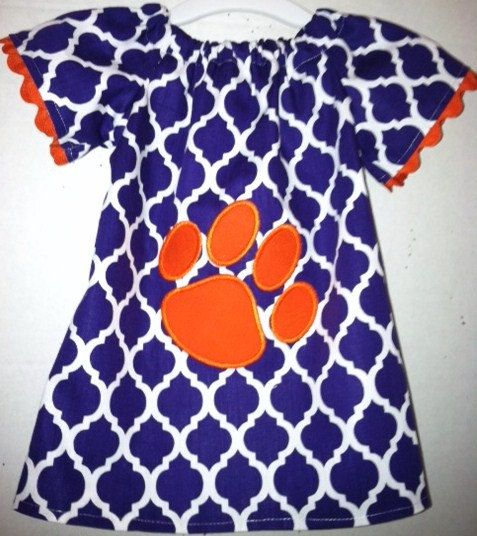 Clemson inspired  peasant style dress with paw by Meemeescorner, $35.00