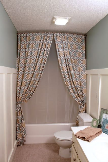 A chic diy trick suburbanspunk turns zgallerie panels Bathroom shower curtain ideas
