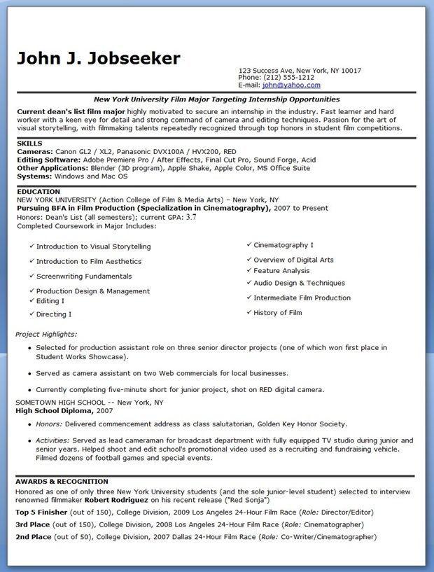 Film Intern Resume Examples #resumedesigncreative Resume Design