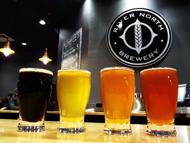 Flight at Denver's newest brewery (as of March, 2012). Left to right: Hello Darkness Belgian Black IPA, River North White, Belgian Pale Red and J Marie Saison.