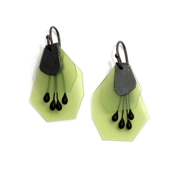Japanese born, Melbourne based jeweller Yuko Fujita has often made work that evokes and reinterprets natural forms. Here she delights with brightly coloured earrings made from polypropylene, paper and oxidised sterling silver. Green version.