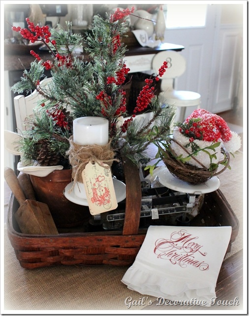 Lovely harvest basket filld with Christmas decor goodies! From Gail's ...