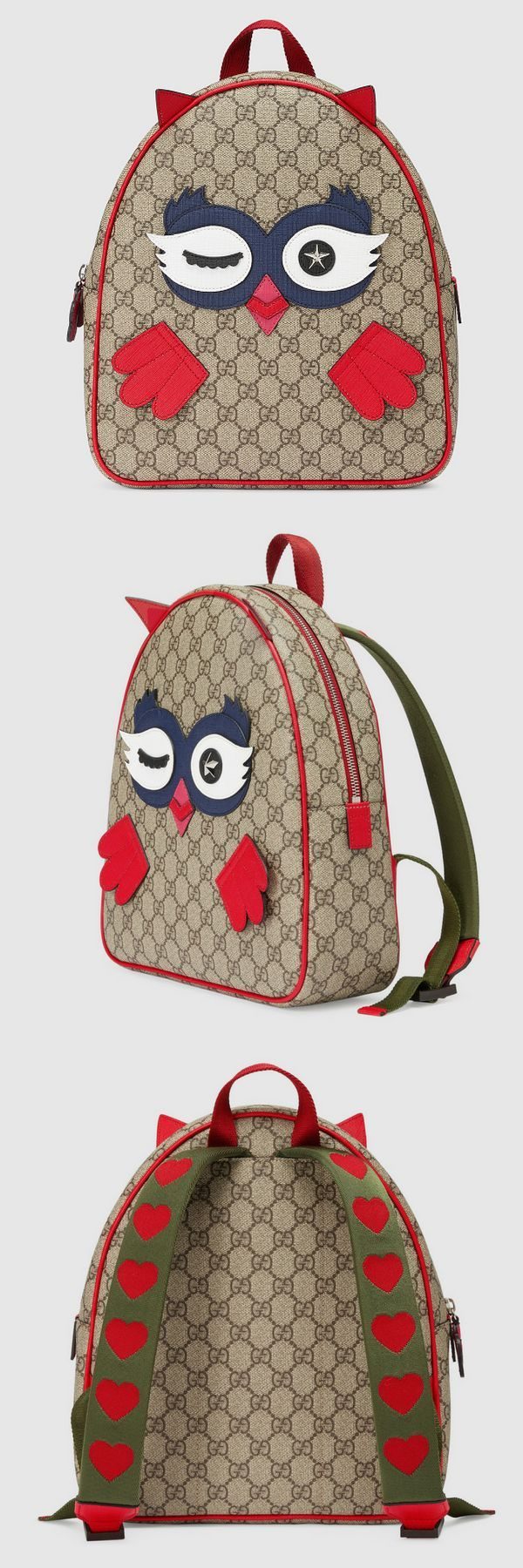 Children's owl #backpack Beige/ebony GG Supreme canvas, a material with low environmental impact with Supreme canvas owl details Adjustable nylon shoulder straps with heart details. Kid's #bag