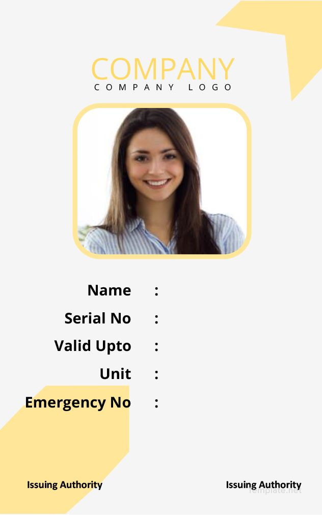 Free Simple Blank Id Card Id Card Template Blank Id Cards Card