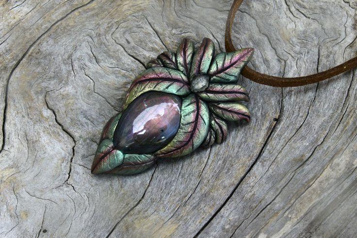 Labradorite gemstones clay pendants Aztec jewelry necklace faceted diamond Quartz bohemian spirit elven fairy tales magic