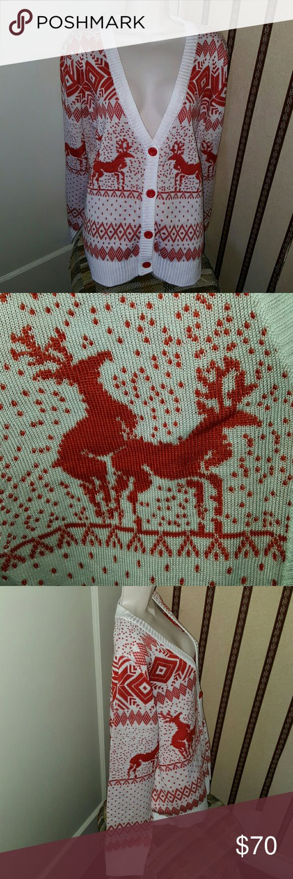 """NEW - Tipsy Elves Holiday Reindeer Cardigan Sz XL New and ready for you. The tag says """"woman's reindeer double date cardigan white size XL"""". Could work as unisex. Super soft. 100% acrylic. There is a dust/stain near the last button. See the last 2 pics. Easy fit. tipsy elves Sweaters Cardigans"""