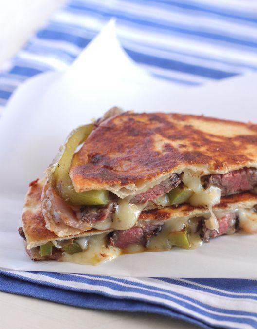 Grilled Steak Fajita Quesadillas!  Buttery Crisp tortilla with cheesy Fajita Style grilled steak and peppers.  Mmm! #quesadilla #fajita #recipe - Picky Palate