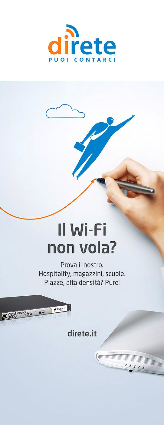 """""""Il Wi-Fi non vola?"""". DiRete, roll-up 85x200 per allestimenti fieristici con messaggi spot"""