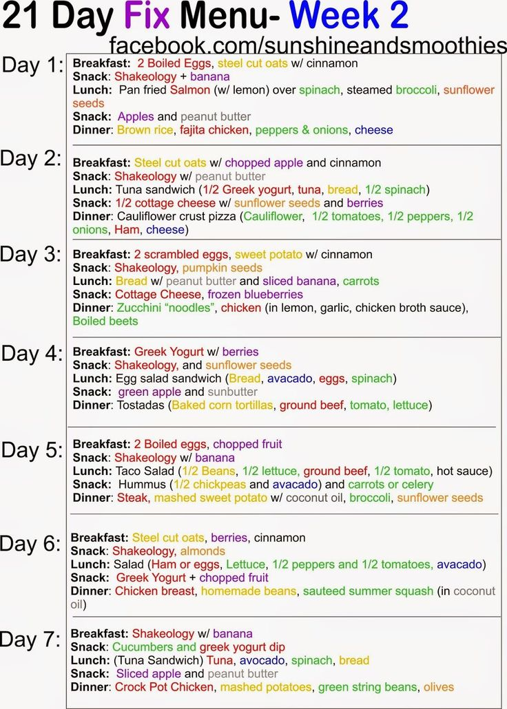 21 Day Fix Menu - Week 2 #21dayfix #21 #Day #Fix #menu #meal #ideas by facebook.com/sunshineandsmoothies