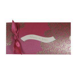 Faire-part Mariage Oriental Pochette rose indien & arabesques dorées Réf. : J3126