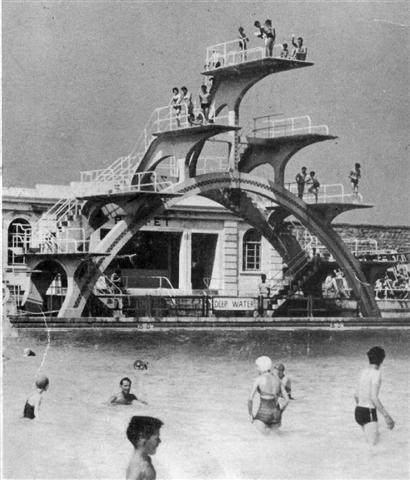 The diving board, Weston-super-Mare lido, 1937