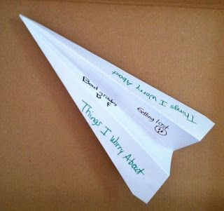 Toss away your anxieties with this paper airplane....St. Louis Center for Play Therapy Training
