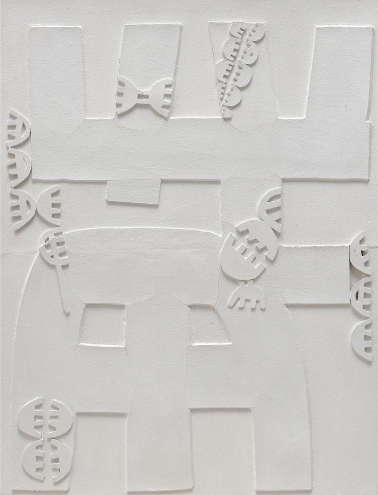Giuseppe Capogrossi – Superficie / Surface 633 – 1968 – Rilievo bianco, sughero su – faesite / White relief, cork on Masonite – cm 100 x 80 – Collezione eredi Capogrossi, Roma / Collection the heirs of Capogrossi, Rome