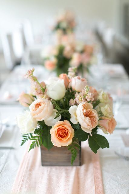 peach baby shower, rustic romantic, centerpiece flowers, wooden planter, garden roses, juliet roses
